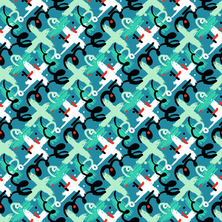 cross hatch: Seamless bold cross hatch pattern with wide brushstrokes and thin curling stripes hand painted in bright multiple variety of colors for fall winter retro fashion. Vector texture in jade green, white Illustration