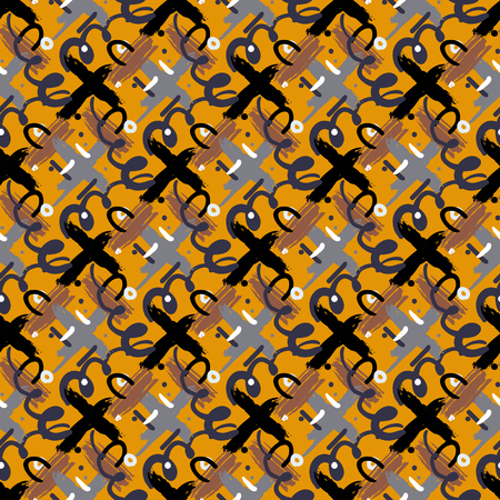 cross hatch: Seamless bold cross hatch pattern with wide brushstrokes and thin curling stripes hand painted in bright multiple variety of colors for fall winter retro fashion. Vector texture in organic brown