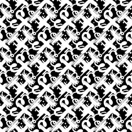 diagonal: Hand drawn vector seamless pattern with crosses, geometric shapes, diagonal brush strokes, painted lines and random doodles in black and white colors. Bold print for modern fashion and textile design