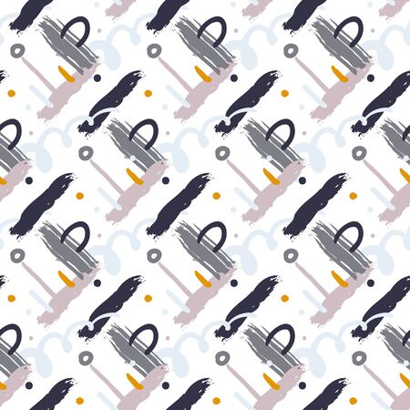Hand drawn vector seamless cross hatched pattern with bold diagonal brushstrokes, zigzag lines, colorful stripes, small circles and random doodles in grey white colors. Modern print for textile design Vettoriali