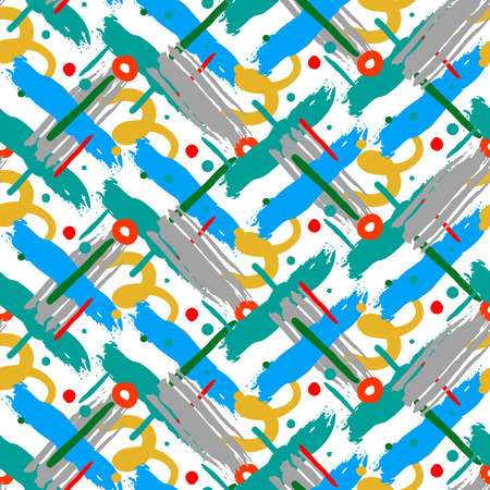 cross hatch: Striped hand painted vector seamless pattern with ethnic and tribal motifs, zigzag lines, brushstrokes and splatters of paint, circles and curls in blue,red, yellow colors for summer fall fashion Illustration
