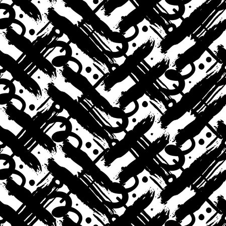 brushstrokes: Striped hand painted vector seamless pattern with ethnic and tribal motifs, zigzag lines, brushstrokes and splatters of paint, circles and curls in black and white colors for summer fall fashion