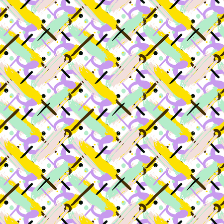 hatch: Seamless bold cross hatch pattern with ethnic and tribal motifs, brushstrokes, splatters, dots and thin curling stripes hand painted for fall winter retro fashion. Vector print in green, yellow, black