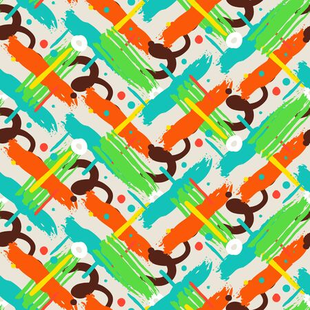brushstrokes: Striped hand painted vector seamless pattern with ethnic and tribal motifs, zigzag lines, brushstrokes, splatters of paint, circles and curls in bright red, green, brown colors for summer fall fashion