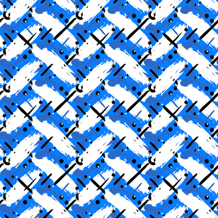 Striped hand painted vector seamless pattern with ethnic and tribal motifs, zigzag lines, brushstrokes and splatters of paint, circles and dots in blue and white colors for summer fall sports fashion