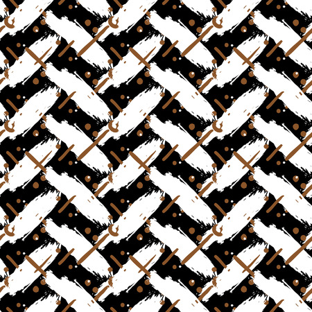 cross hatch: Striped hand painted vector seamless pattern with ethnic and tribal motifs, zigzag lines, brushstrokes and splatters of paint, circles and dots in organic brown grey colors for summer fall fashion Illustration