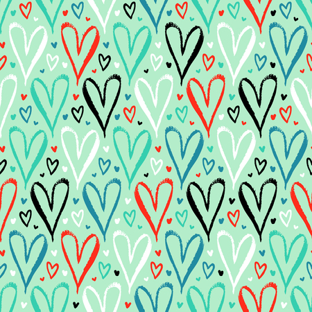 colorful background: Vector seamless pattern with hand drawn hearts in turquoise color. Simple elegant, romantic background for Valentine day, Mothers day and other family events. Small ditsy chic print for textile design