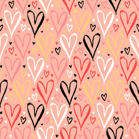 Vector seamless pattern with hand drawn hearts in coral red color. Simple elegant, romantic background for Valentine day, Mothers day and other family events. Small ditsy chic print for textile design