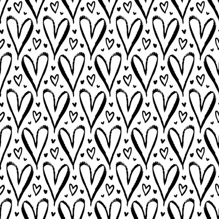 xoxo: Vector seamless pattern with hand drawn hearts in black and white. Simple elegant, romantic background for Valentine day, Mothers day and other family events. Small ditsy chic print for textile design