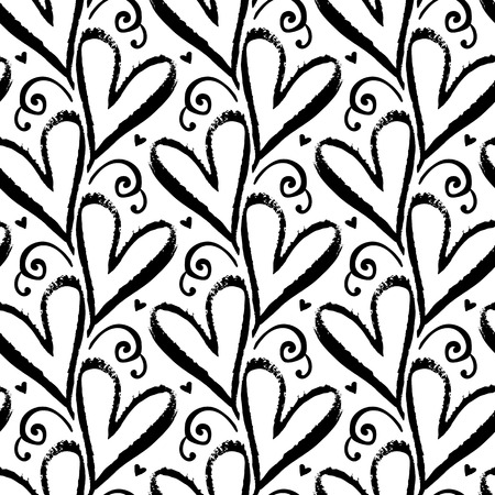 Vector seamless pattern with hand drawn hearts in black and white. Simple elegant, romantic background for Valentine day, Mothers day and other family events. Small ditsy chic print for textile design