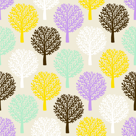 Vector pattern with tree silhouette and branches in soft colors for fall winter fashion or Christmas wrapping paper. Chic, elegant, natural print with woods. Retro style wallpaper, seamless background