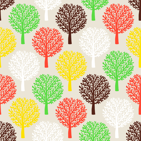 fall trees: Vector seamless pattern with trees silhouettes and leafs in black and white colors for fall winter fashion or Christmas wrapping paper. Chic, elegant, natural print with woods. Retro style wallpaper.