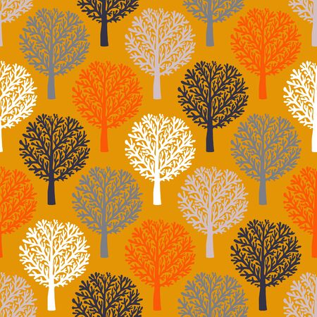 Vector seamless pattern with trees silhouettes and leafs in brown, re, white colors for fall winter fashion or Christmas wrapping paper. Chic, elegant, natural print with woods. Retro style wallpaper.