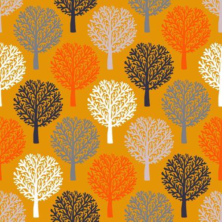 Vektor nahtlose Muster mit Bäumen Silhouetten und Blätter in braun, re, weißen Farben für den Herbst Winter Mode oder Weihnachten Geschenkpapier. Chic, elegant, natürlich Druck mit Wald. Retro-Stil Tapeten.
