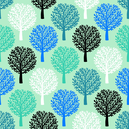 christmas wrapping paper: Vector seamless pattern with trees silhouettes and leafs in many blue green colors for fall winter fashion or Christmas wrapping paper. Chic, elegant, natural print with woods. Retro style wallpaper.