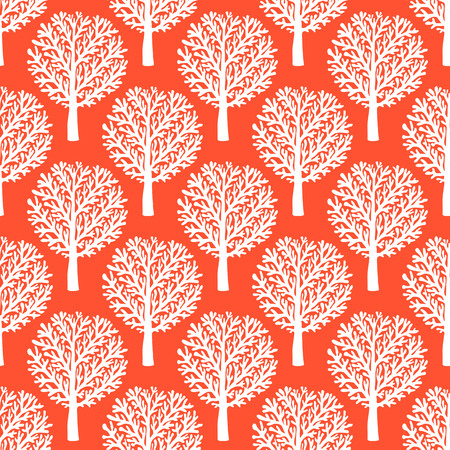 fall trees: Vector seamless pattern with trees silhouettes and branches in red and white colors for fall winter fashion or Christmas wrapping paper. Chic, elegant, natural print with woods. Retro style wallpaper.