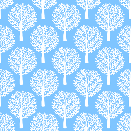 fall trees: Vector seamless pattern with trees silhouettes and leafs in blue and white colors for fall winter fashion or Christmas wrapping paper. Chic, elegant, natural print with woods. Retro style wallpaper. Illustration