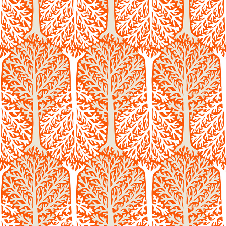 vintage patterns: Vector seamless pattern with trees silhouettes and leafs in red and white colors for fall winter fashion or Christmas wrapping paper. Chic, elegant, natural print with woods. Retro style wallpaper.