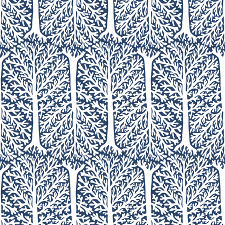 tree canopy: Vector seamless pattern with trees silhouettes and leafs in grey and white colors for fall winter fashion or Christmas wrapping paper. Chic, elegant, natural print with woods. Retro style wallpaper. Illustration