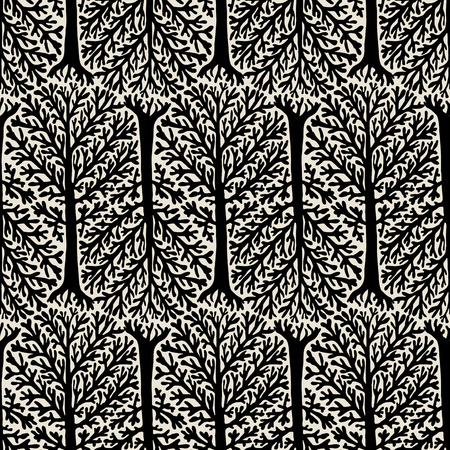 winter colors: Vector seamless pattern with trees silhouettes and leafs in black and white colors for fall winter fashion. Chic, elegant, natural print with woods. Retro style wallpaper. Concept of ecology awareness Illustration