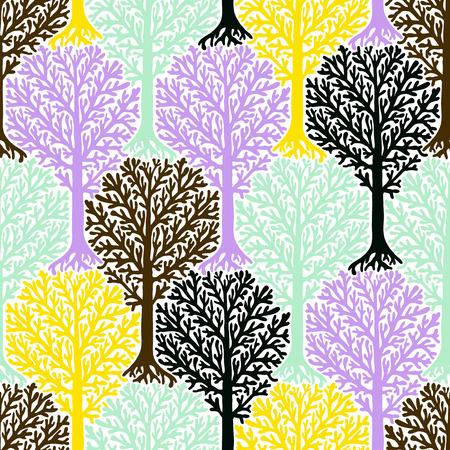 naadloze patroon met bomen silhouetten en bladeren in zachte romantische kleuren voor de herfst winter mode of Kerstmis inpakpapier. Chic, elegant, natuurlijk druk met bossen. Retro stijl behang. Vector Illustratie