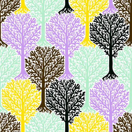 seamless pattern with trees silhouettes and leafs in soft romantic colors for fall winter fashion or Christmas wrapping paper. Chic, elegant, natural print with woods. Retro style wallpaper.