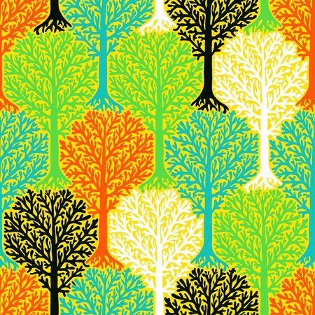 christmas wrapping paper: pattern with tree silhouette and leafs in multiple colors for fall winter fashion or Christmas wrapping paper. Fun, elegant, natural print with woods. Retro style wallpaper, seamless background