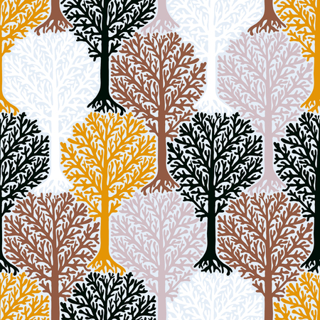 sixties: pattern with tree silhouette and leafs in organic colors for fall winter fashion or Christmas wrapping paper. Fun, elegant, natural print with woods. Retro style wallpaper, seamless background