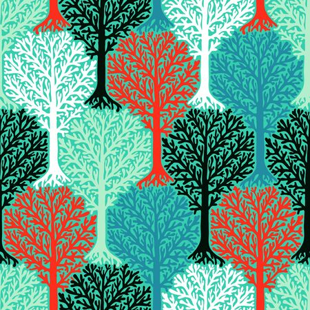 winter fashion: seamless pattern with trees silhouettes and leafs in multiple bright colors for fall winter fashion or Christmas wrapping paper. Chic, elegant, natural print with woods. Retro style wallpaper.
