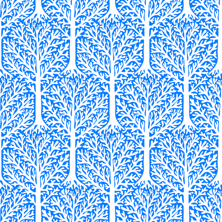 fall winter: seamless pattern with trees silhouettes and branches in blue and white colors for fall winter fashion or Christmas wrapping paper. Chic, elegant, natural print with woods. Retro style wallpaper