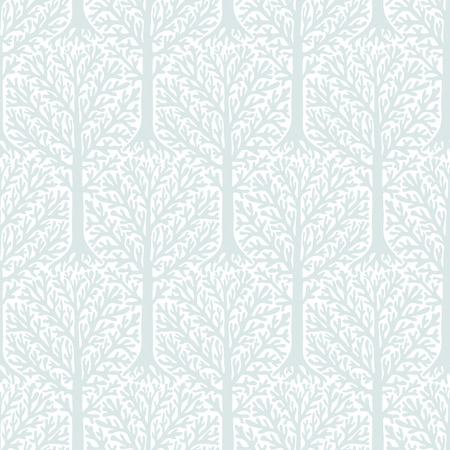 winter fashion: seamless pattern with tree silhouette and branches in silver white colors for winter fashion or Christmas wrapping paper. Chic, elegant, natural print with woods. Retro style wedding invitation