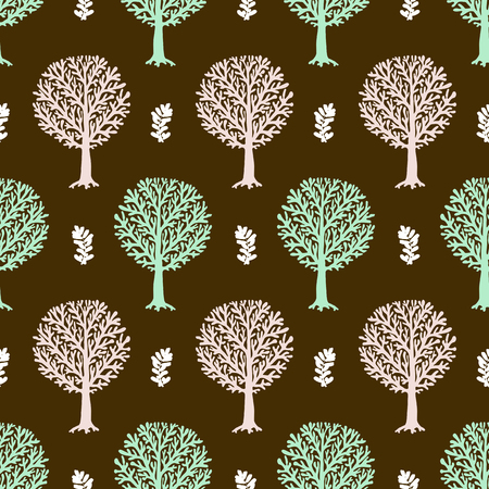 fall trees: seamless pattern with trees silhouettes and leafs in brown and white colors for fall winter fashion or Christmas wrapping paper. Chic, elegant, natural print with woods. Retro style wallpaper.