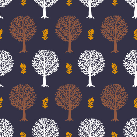 fall winter: seamless pattern with trees silhouettes and leafs in sophisticated colors for fall winter fashion or Christmas wrapping paper. Grunge, elegant, natural print with woods. Retro style wallpaper. Illustration