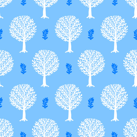 fall trees: seamless pattern with trees silhouettes and leafs in blue and white colors for fall winter fashion or Christmas wrapping paper. Chic, elegant, natural print with woods. Retro style wallpaper.