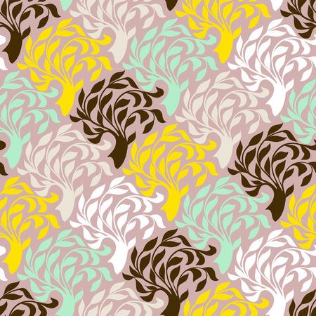 christmas wrapping paper: seamless pattern with trees silhouettes and leafs in organic colors for fall winter fashion or Christmas wrapping paper. Chic, elegant, natural print with woods. Retro style floral wallpaper Illustration
