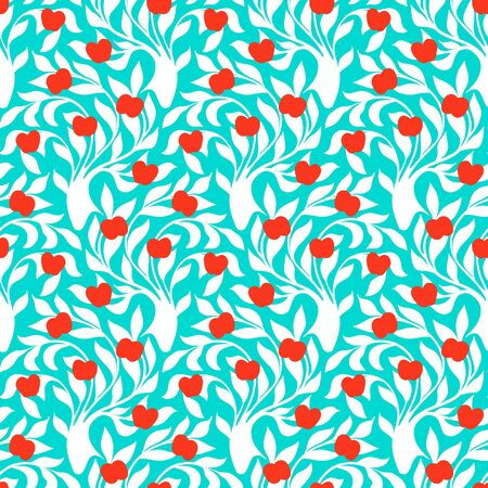 winter garden: seamless pattern with trees silhouettes, leafs and red apples in blue and white colors for fall winter fashion or wrapping paper. Chic, elegant, natural print with garden. Retro style wallpaper Illustration