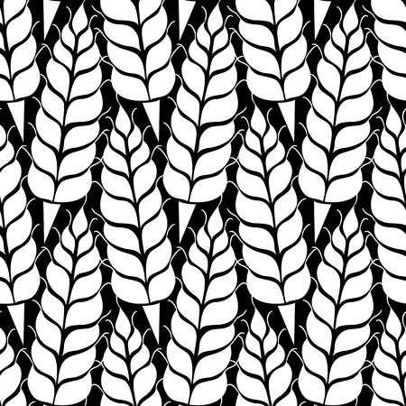 bakery products: Vector seamless pattern with silhouettes of wheat ears. Whole grain, natural, organic background for bakery package, bread products. Vector illustration of growing rye field. Barley, corn texture. Illustration