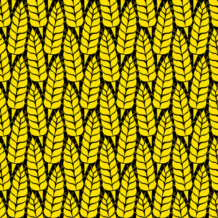 whole grain: Vector seamless pattern with silhouettes of wheat ears. Whole grain, natural, organic background for bakery package, bread products. Vector illustration of growing rye field. Barley, corn texture. Illustration