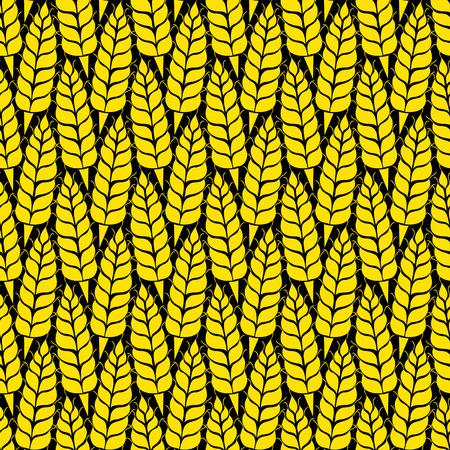 Wektor bez szwu z sylwetkami kłosy pszenicy. Całe ziarna, naturalne, organiczne tło dla pakietu piekarni, pieczywa. Vector ilustracją rosnącej polu żyta. Jęczmień, kukurydza tekstury. Ilustracje wektorowe
