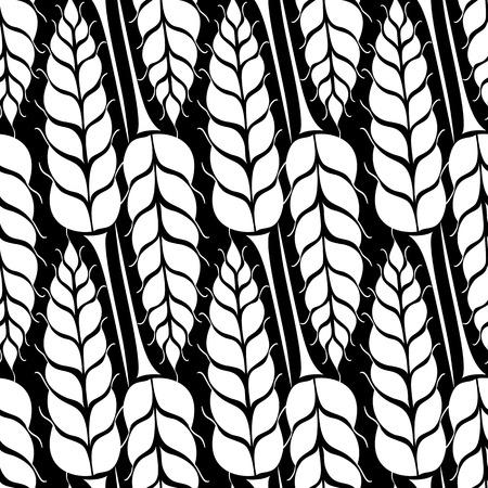 cebada: Modelo inconsútil del vector con las siluetas de los oídos del trigo. De grano entero, fondo natural, orgánico para el paquete de panadería, productos de pan. Ilustración del vector del creciente campo de centeno. Cebada, textura maíz. Vectores