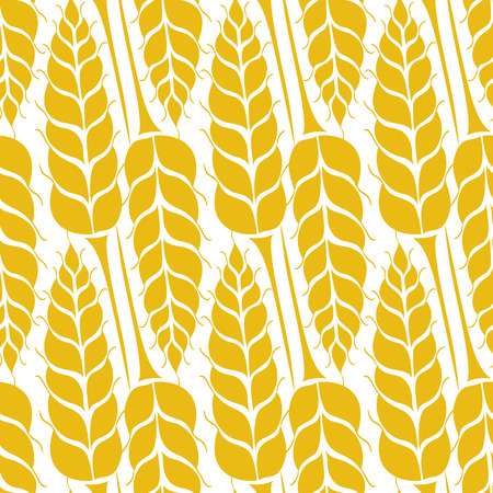 Vector seamless pattern with silhouettes of wheat ears. Whole grain, natural, organic background for bakery package, bread products. Vector illustration of growing rye field. Barley, corn texture. Vettoriali