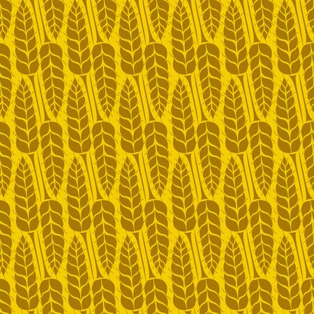 Vector seamless pattern with silhouettes of wheat ears. Whole grain, natural, organic background for bakery package, bread products. Vector illustration of growing rye field. Barley, corn texture. Çizim