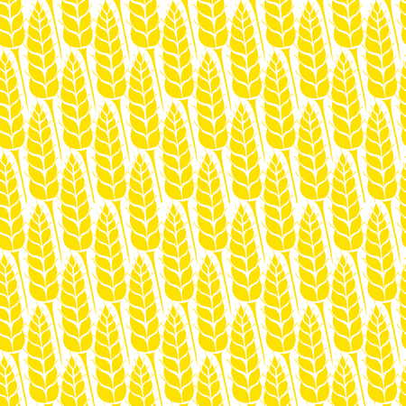 grain fields: Vector seamless pattern with silhouettes of wheat ears. Whole grain, natural, organic background for bakery package, bread products. Vector illustration of growing rye field. Barley, corn texture. Illustration