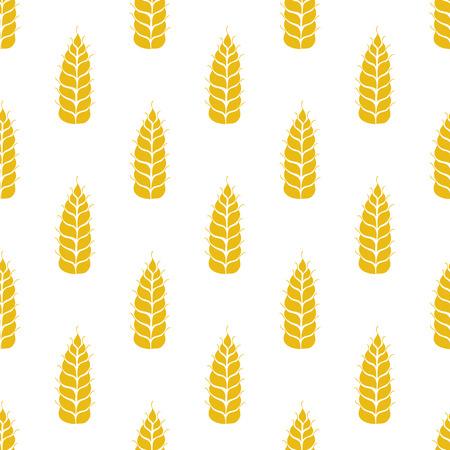 Modelo inconsútil del vector con las siluetas de los oídos del trigo. De grano entero, fondo natural, orgánico para el paquete de panadería, productos de pan. Ilustración del vector del creciente campo de centeno. Cebada, textura maíz.