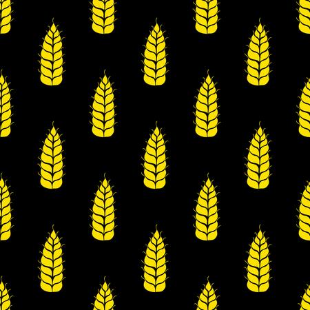 produits c�r�aliers: Vector seamless pattern avec des silhouettes des �pis de bl�. Grains entiers, naturel, fond organique pour le paquet de boulangerie, les produits de boulangerie. Vector illustration de champ de la culture du seigle. L'orge, de la texture de ma�s.