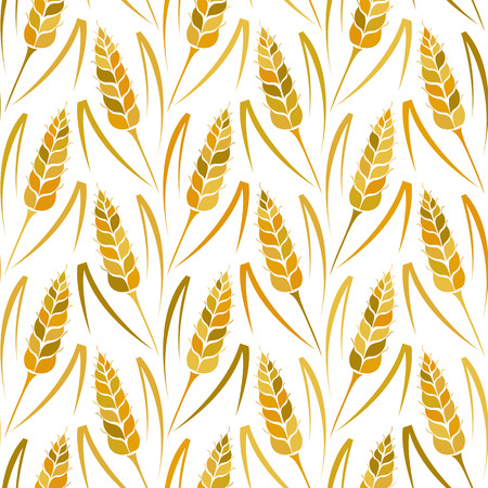whole grain: Vector seamless colorful pattern with silhouettes of wheat. Whole grain, natural, organic background for bakery package, bread products. Vector illustration of growing rye field. Barley, corn texture.