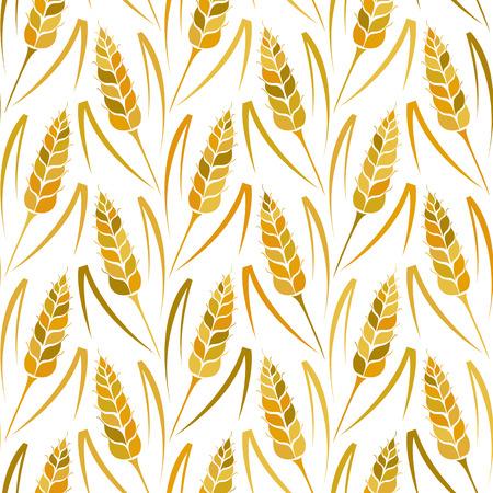saludable logo: Vector sin patrón de colores con las siluetas de trigo. De grano entero, fondo natural, orgánico para el paquete de panadería, productos de pan. Ilustración del vector del creciente campo de centeno. Cebada, textura maíz.