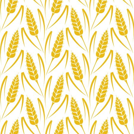 barley field: Vector seamless pattern with silhouettes of wheat ears. Whole grain, natural, organic background for bakery package, bread products. Vector illustration of growing rye field. Barley, corn texture. Illustration