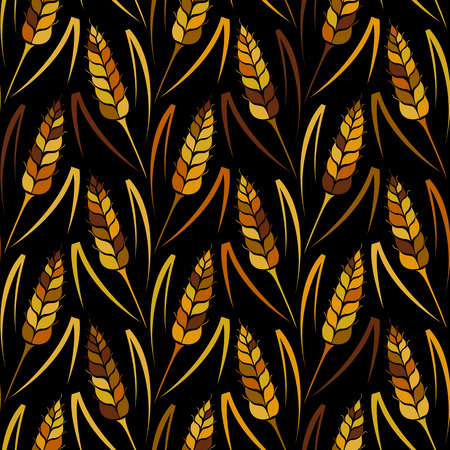 Vector seamless colorful pattern with silhouettes of wheat. Whole grain, natural, organic background for bakery package, bread products. Vector illustration of growing rye field. Barley, corn texture.