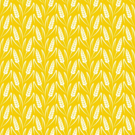 小麦の穂のシルエットをベクターのシームレスなパターン。全粒穀物、パン屋のパッケージ、パン製品の自然な有機的背景。ライ麦の成長分野のベ  イラスト・ベクター素材